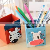 Promotional school gifts DIY creative stationery handmade wooden cartoon animal Pen box Pencil Container personalized pen holder