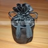 black round bottom glass candle jar satin drawstring dust bag with tassels