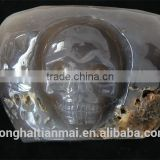New Arrive Natural Amethyst Crystal Geode Bowl with Skull / Amethyst Treasure Bowl for Bringing Mammon