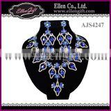 Blue Crystal Sapphire Bridal Jewelry Set For Women AJS4247