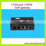 1 FXO and 1 PSTN VoIP gateway with H.323 and SIP,support calling back system