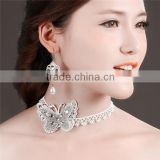 MYLOVE 2015 new design rhinestone butterfly necklace earring set bridal jewelry MLT017