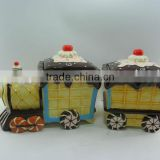 Newest Hot Sale Cake Train Ceramic Cookie Jar