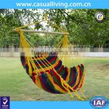 Outdoor Canvas Hanging Hammock Swing Chair Seat with Wood Spreader Bar and Fringe (Desert Stripe)