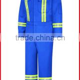 cheap coverall for working with high visibility reflective tapes in royal blue