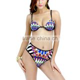 Nylon Bikini flexible backless two piece padded printed geometric multi-colored Sold By Set