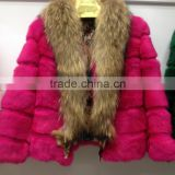 Factory direct rabbit fur whole skin women fur coat Korean version of raccoon large hair collar autumn and winter fashion female