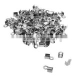 Stainless Steel Cord Crimp Ends Caps Connectors Jewelry Findings for Necklace Bracelet Craft