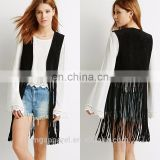 Fashion fully lined black ladies suede leather vest with longline fringe