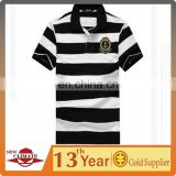MANS WHITE AND BLACK STRIPED POLO SHIRT SHORT SLEEVES