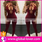 Wholesale sexy girl night club wear playsuits womens slim fit tight bodycon jumpsuit romper