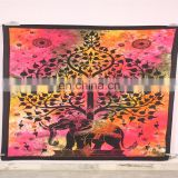 India Wall Hanging Flat Sheet Colorful Cotton Elephant Mandala Tapestry