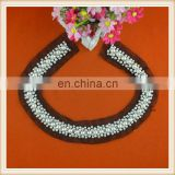 New dsesign full pearl beads embroidery neck design round shape beaded collar for lady suits