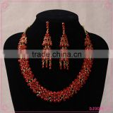 Hot Sale Women's Wedding Jewellery Sets Red Rhinestone Bride Necklace Set
