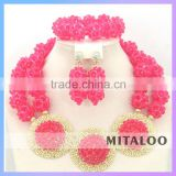 Mitaloo Lastest Design Beaded Necklace And Earring Sets Beautiful African Wedding Beads MT0002