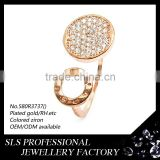 China imitation jewelry ring fashion adjustable ring with rose gold plated and aa zircon gemstone