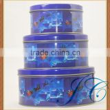 Different sizes Christmas santa round biscuit & cookie tin box for gift