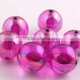 Hotpink Color Bulk Price 10MM to 20MM Stock Round Acrylic AB Effect Transparent Beads for Chunky Necklace Wholesales