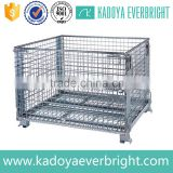 Warehouse galvanized stackable folding steel wire storage cage