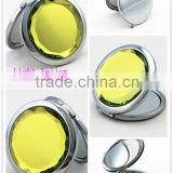 Fahion light yellow crystal pocket mirror cosmetic mirror compact mirror