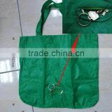customized Flexible easy to carry reusable green polyester foldable bag with small key bag