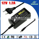14.4W vu duo power supply 12 volt 1.2 amp power adapter, AC to DC, 2.1mm*5.5mm plug