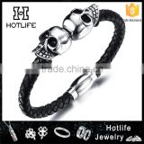 magnetic clasp new product genuine leather skull men bracelet bead                                                                         Quality Choice