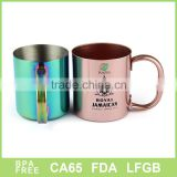 stainless steel copper mug with single wall and handle