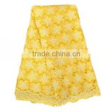 Stock lot Polyester material Lace Fabric yellow guipure lace fabric swiss cupion cord lace