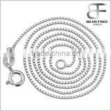 925 Sterling Silver Box Link Chain, Italian Crafted Necklace Super Thin but Strong with Spring Ring Clasp