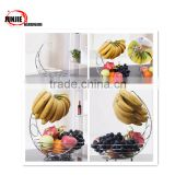 Metal Chrome wire mesh Fruit Basket with Banana Hanger Hook grape holder hook
