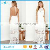 Sexy women crocheted sleeveless backless design floor length maxi dress
