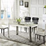 Foshan Factory Outlets Morden Simple Stainless Steel Marble Dining Table Set Home Used Furniture Marble Dining Table