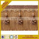 China supplier textiles curtain fringe rayon material acrylic bead bullion fringe with pompom trim