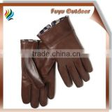 High-end 2015 Fashion Italian brown winter deerskin plain style lined Mens deerskin leather gloves