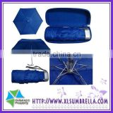 "19.5 "" blue fiber glass ribs hand open mini pocket umbrella"