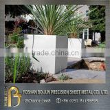 China wholesaler customized garden outdoor big square planter, metal planter fabrication