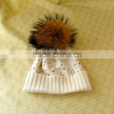 Wholesale Top Quality Knitted Wool Hat with Raccoon Fur Pom poms and Diamond for Fashion Lady