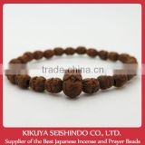 Owl beads bracelet (Lucky Charm), Japanese box wood, japanese beads bracelet, made in Japan, Budhist lucky charm