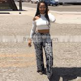 2016 Summer Fashion Women Jumpsuits Ladies Midriff-Baring Halter Neck Three Quarter Sleeve Blouses Top And African Print Pants