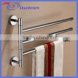 Hot sale three layer brass glass shower door support removable towel bar