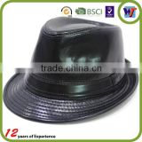 cheap black all leather hat fashion fedora hat for men