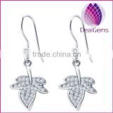 High quality 925 silver fishhook earring with leaves shape pink earring sold by pairs
