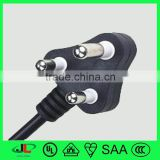 Top high quality South Africa type cable south africa plug with 3 round pin