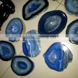 wholesale price natural blue agate slice slabs for sale