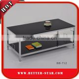 Black Tempered Glass Coffee Table, Metal Glass Coffee Table, Glass Top Coffee Table