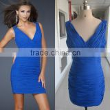 Real Picture Ladies Blue V Neck Ruffled Designs Mini Custom Make Short Evening Party Dress RD017 sexy short tight mini dress