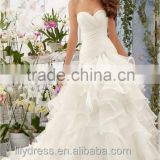 Stunning Hot Sale 2016 New Design Pleated Tiered Ruffles Organza Mermaid Wedding Dresses Lace Up Back Robe De Mariage ML039