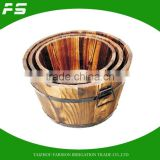 Burnt Finish Fir Wooden Garden Flower Planter Pot Wooden Barrel Set