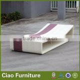 wooden outdoor furniture rattan sun lounger
